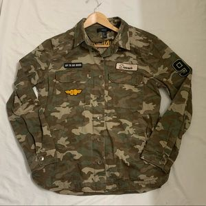 Forever 21 Camo Shacket with Patches - Large